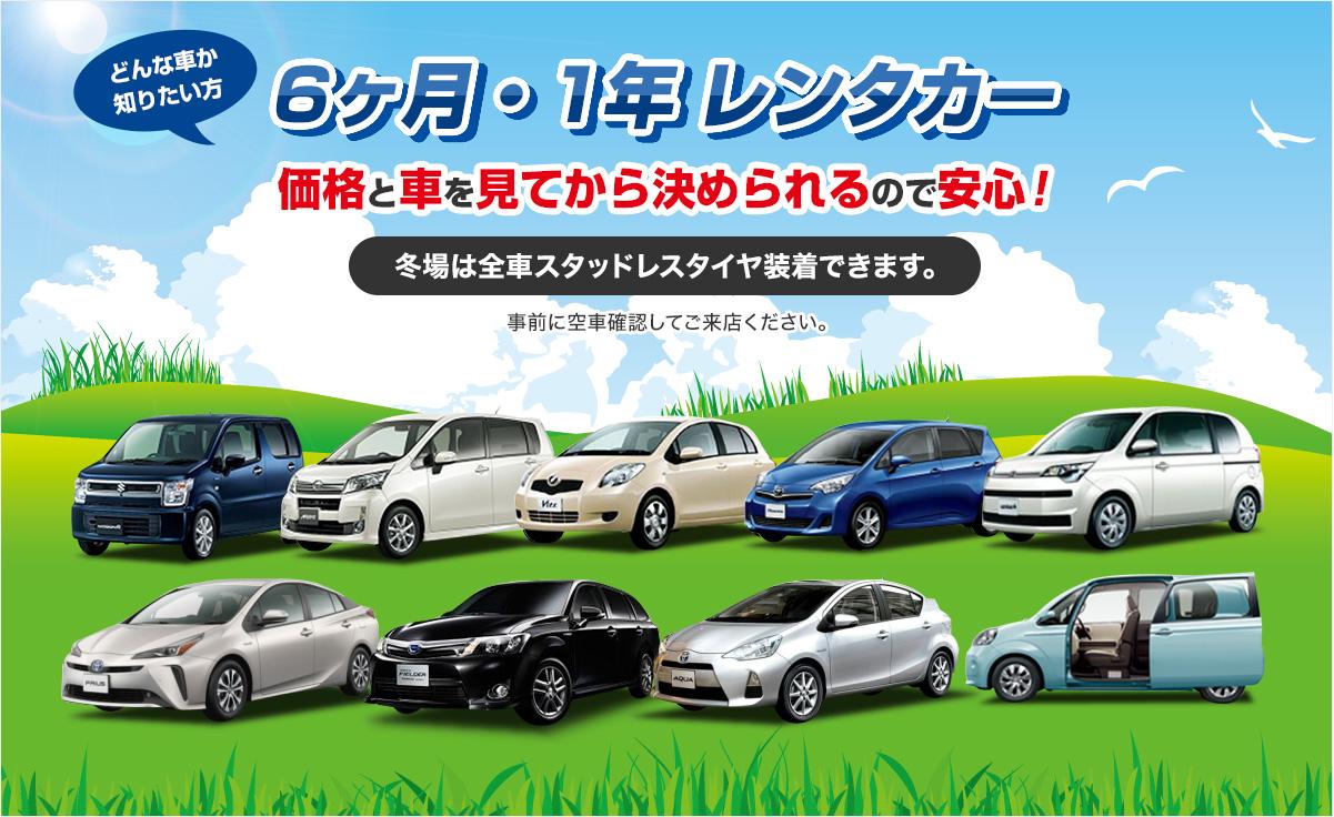 6ヶ月・1年 レンタカー価格と車を見てから決められるので安心!